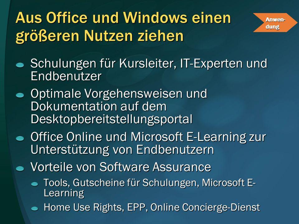 Aus Office und Windows einen größeren Nutzen ziehen Schulungen für Kursleiter, IT-Experten und Endbenutzer Optimale Vorgehensweisen und Dokumentation