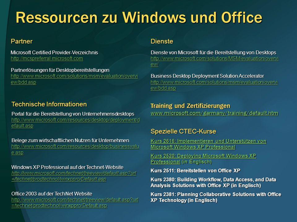 Partner Microsoft Certified Provider-Verzeichnis http://mcspreferral.microsoft.com Partnerlösungen für Desktopbereitstellungen http://www.microsoft.co
