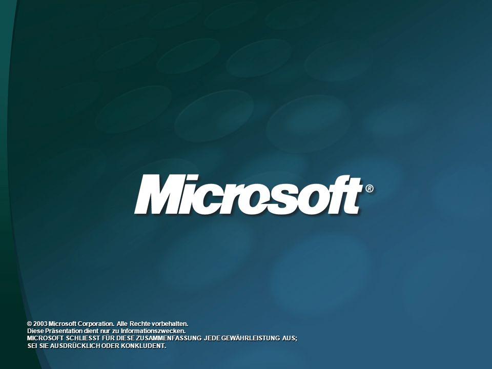 © 2003 Microsoft Corporation. Alle Rechte vorbehalten. Diese Präsentation dient nur zu Informationszwecken. MICROSOFT SCHLIESST FÜR DIESE ZUSAMMENFASS