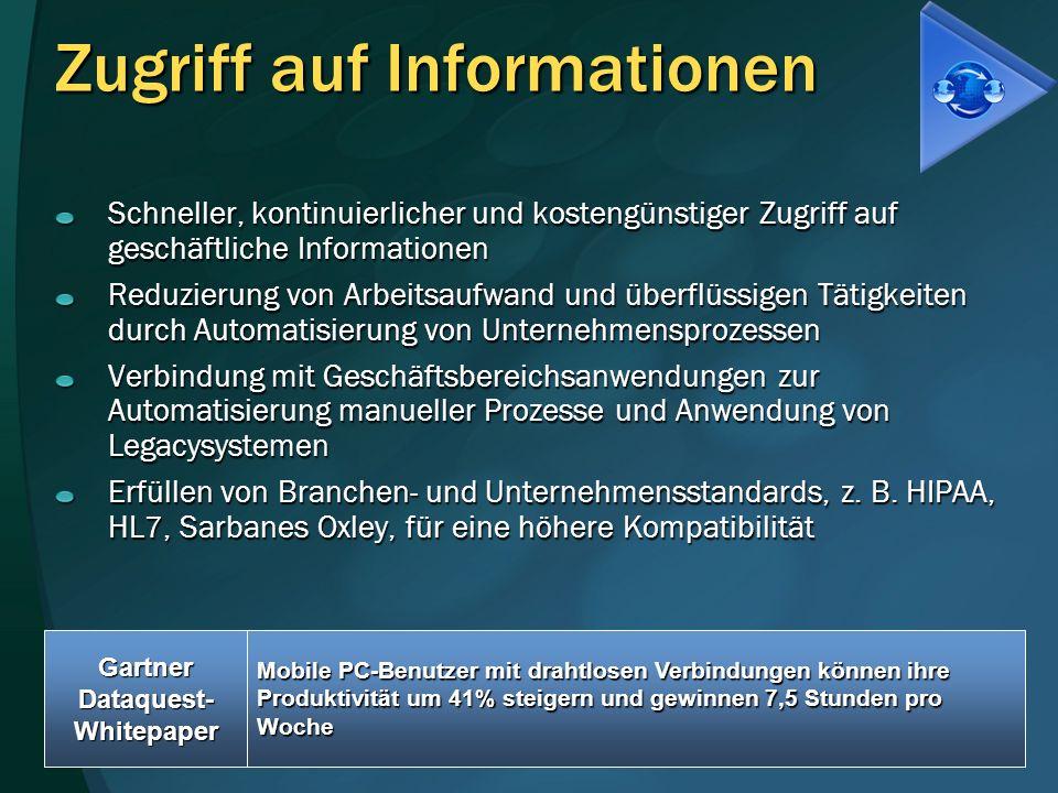 Zugriff auf Informationen Schneller, kontinuierlicher und kostengünstiger Zugriff auf geschäftliche Informationen Reduzierung von Arbeitsaufwand und ü