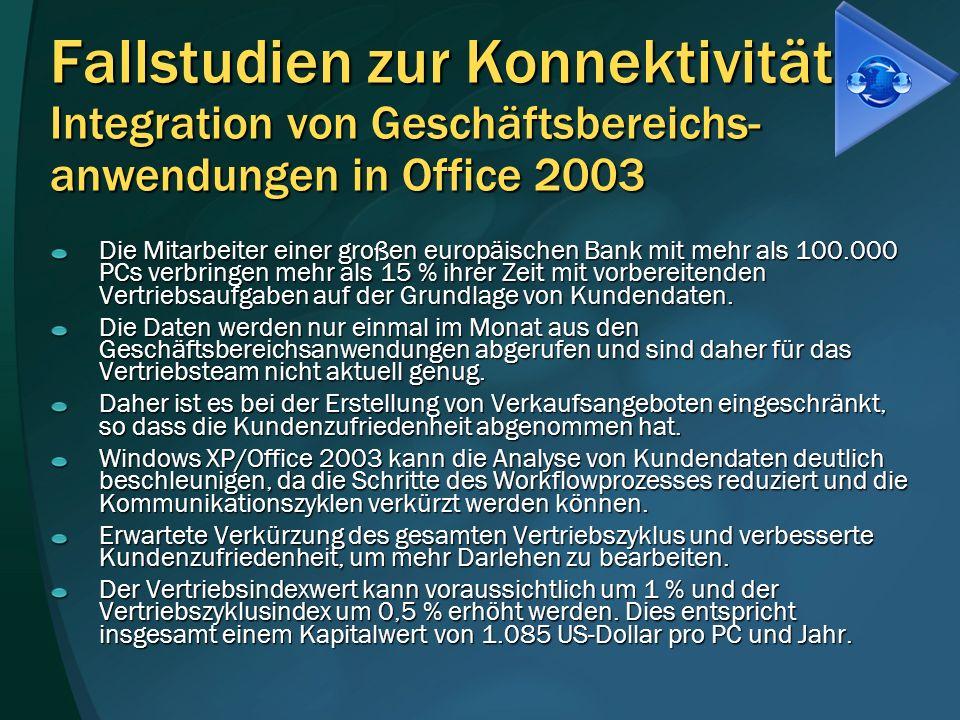 Fallstudien zur Konnektivität Integration von Geschäftsbereichs- anwendungen in Office 2003 Die Mitarbeiter einer großen europäischen Bank mit mehr al