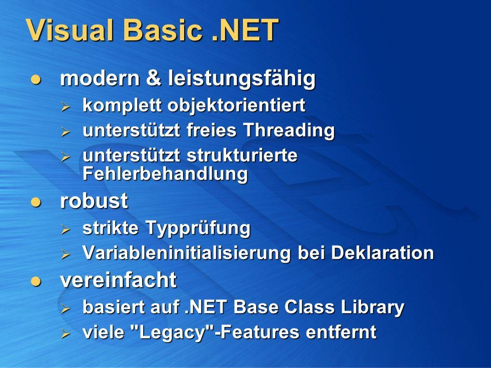 Visual Basic.NET modern & leistungsfähig modern & leistungsfähig komplett objektorientiert komplett objektorientiert unterstützt freies Threading unte
