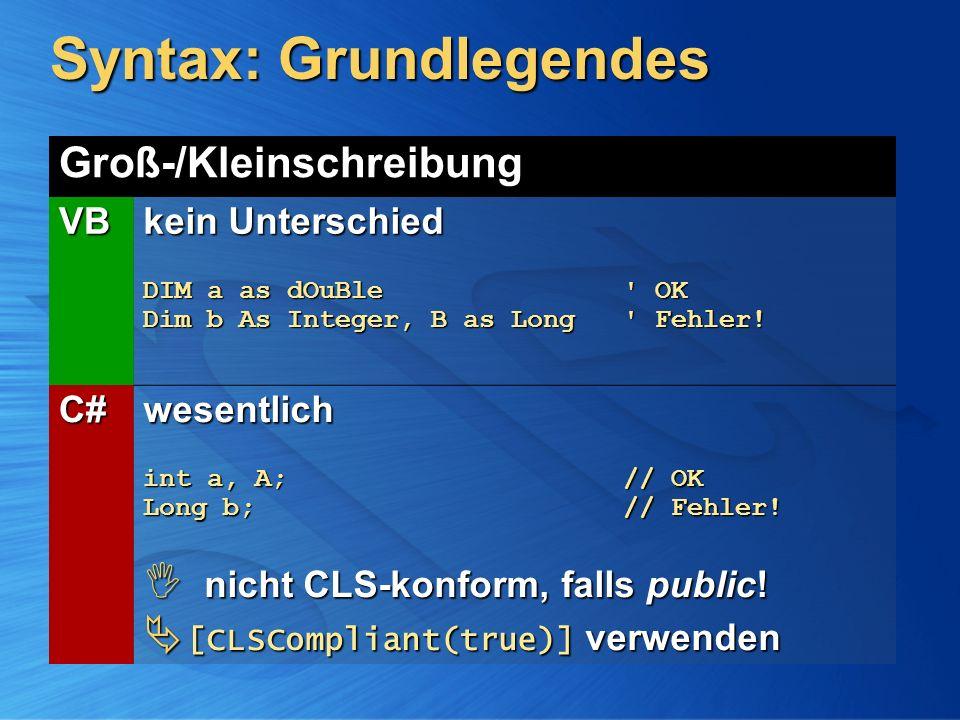 Syntax: Grundlegendes Groß-/Kleinschreibung VB kein Unterschied DIM a as dOuBle' OK Dim b As Integer, B as Long ' Fehler! C# wesentlich int a, A; // O