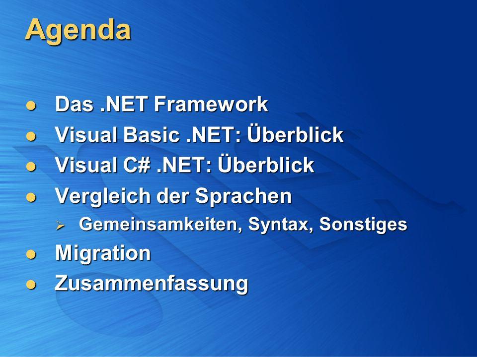 Zusammenfassung Highlights VB CLS-konform CLS-konform gute Unterstützung von OLE Automation gute Unterstützung von OLE Automation Background Compile beim Editieren Background Compile beim Editieren einfache Event-Syntax einfache Event-Syntax weitgehende automatische Codeformatierung weitgehende automatische Codeformatierung C# Sprache des.NET Framework Sprache des.NET Framework erzwingt Programmierdisziplin erzwingt Programmierdisziplin XML-Dokumentation XML-Dokumentation ermöglicht unsicheren Code ermöglicht unsicheren Code