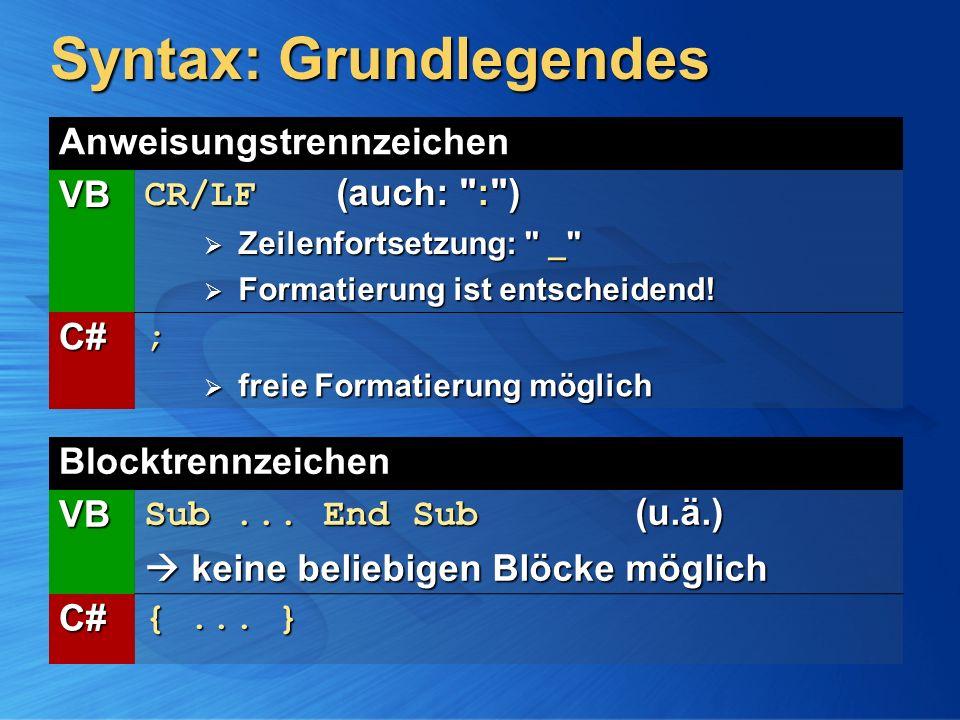 Syntax: Grundlegendes Blocktrennzeichen VB Sub... End Sub (u.ä.) keine beliebigen Blöcke möglich keine beliebigen Blöcke möglich C# {... } Anweisungst