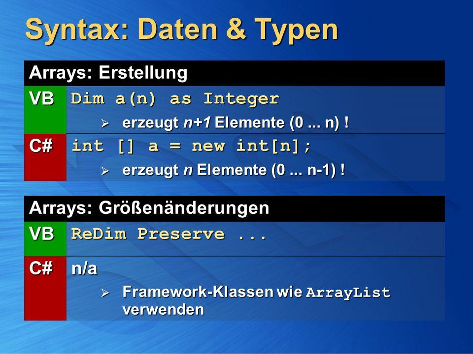 Syntax: Daten & Typen Arrays: Größenänderungen VB ReDim Preserve... C#n/a Framework-Klassen wie ArrayList verwenden Framework-Klassen wie ArrayList ve