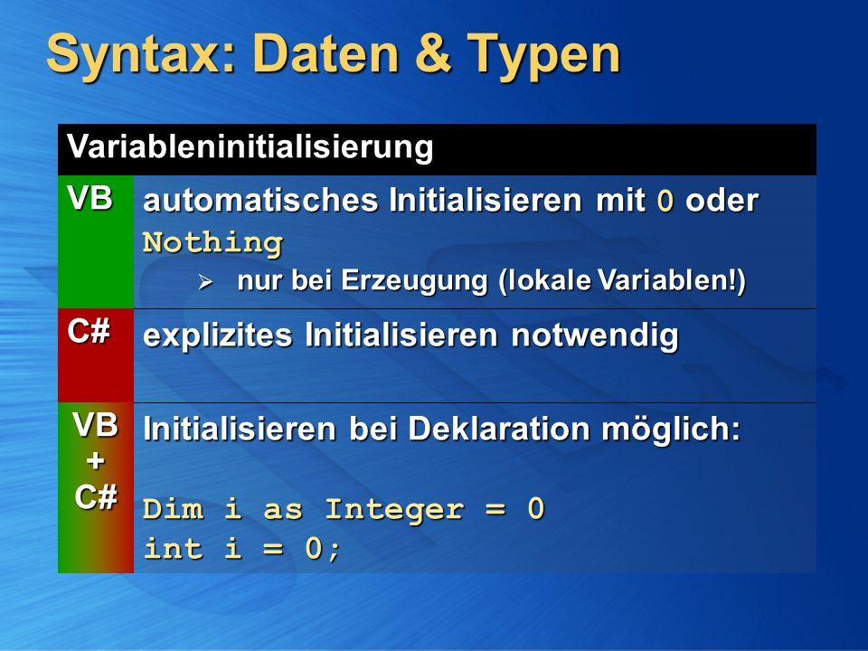 Syntax: Daten & Typen Variableninitialisierung VB automatisches Initialisieren mit 0 oder Nothing nur bei Erzeugung (lokale Variablen!) nur bei Erzeug