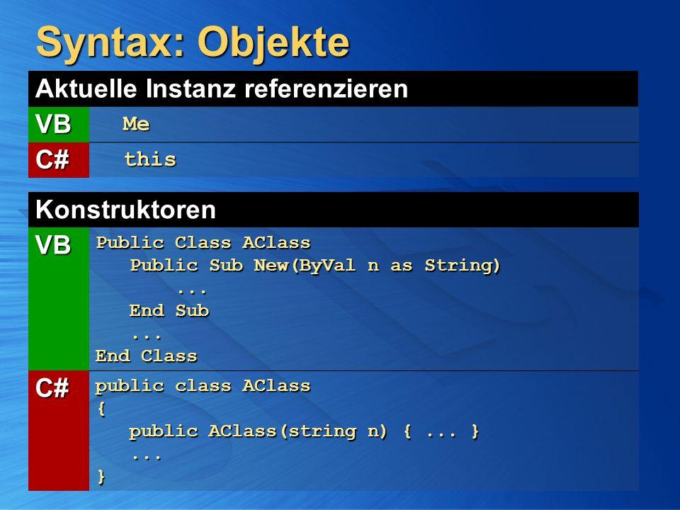 Syntax: Objekte Konstruktoren VB Public Class AClass Public Sub New(ByVal n as String) Public Sub New(ByVal n as String)... End Sub... End Class... En
