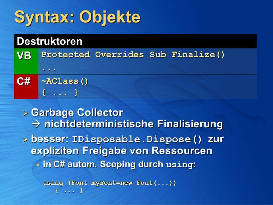 Syntax: Objekte Destruktoren VB Protected Overrides Sub Finalize()... C#~AClass() {... } Garbage Collector nichtdeterministische Finalisierung Garbage