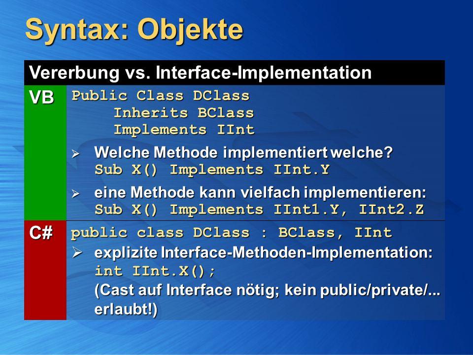 Syntax: Objekte Vererbung vs. Interface-Implementation VB Public Class DClass Inherits BClass Implements IInt Welche Methode implementiert welche? Sub