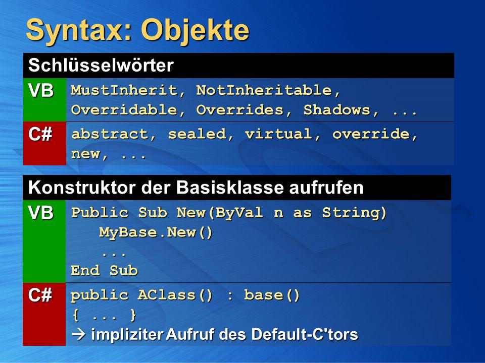 Syntax: Objekte Schlüsselwörter VB MustInherit, NotInheritable, Overridable, Overrides, Shadows,... C# abstract, sealed, virtual, override, new,... Ko