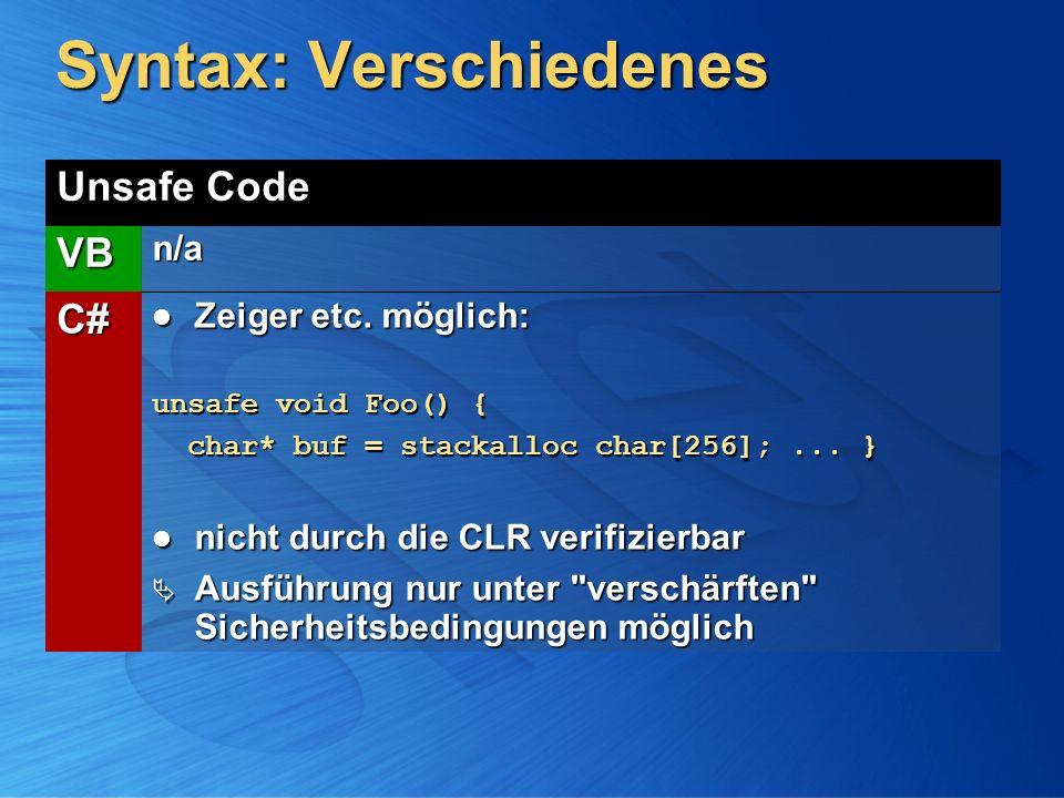 Syntax: Verschiedenes Unsafe Code VBn/a C# Zeiger etc. möglich: Zeiger etc. möglich: unsafe void Foo() { char* buf = stackalloc char[256];... } char*