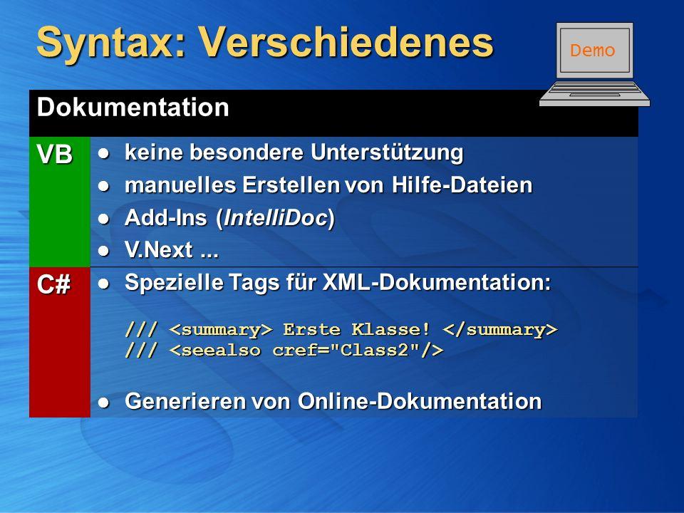 Syntax: Verschiedenes Dokumentation VB keine besondere Unterstützung keine besondere Unterstützung manuelles Erstellen von Hilfe-Dateien manuelles Ers