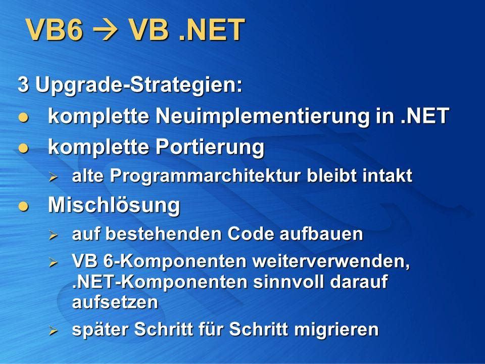 VB6 VB.NET 3 Upgrade-Strategien: komplette Neuimplementierung in.NET komplette Neuimplementierung in.NET komplette Portierung komplette Portierung alt