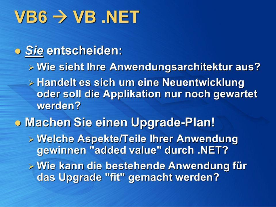VB6 VB.NET Sie entscheiden: Sie entscheiden: Wie sieht Ihre Anwendungsarchitektur aus? Wie sieht Ihre Anwendungsarchitektur aus? Handelt es sich um ei
