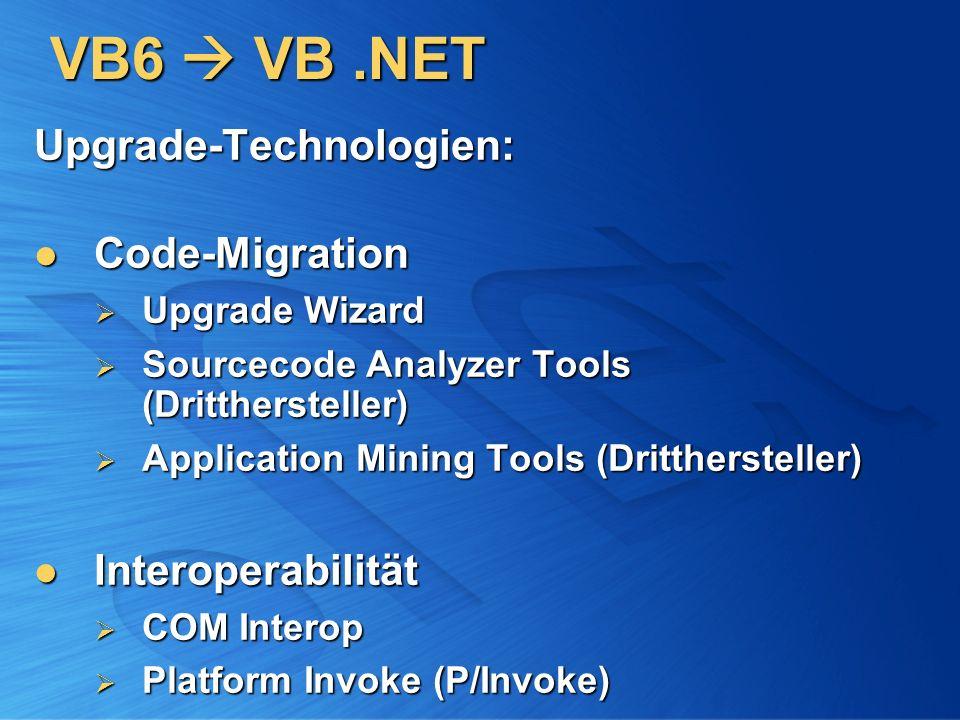 VB6 VB.NET Upgrade-Technologien: Code-Migration Code-Migration Upgrade Wizard Upgrade Wizard Sourcecode Analyzer Tools (Dritthersteller) Sourcecode An
