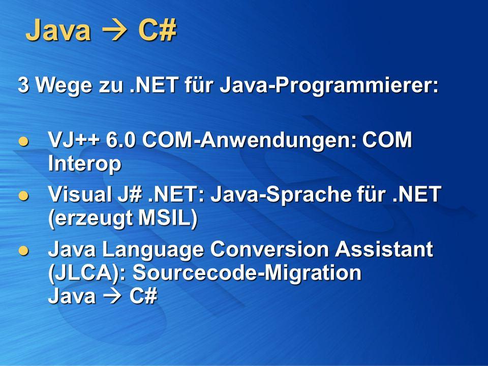 Java C# 3 Wege zu.NET für Java-Programmierer: VJ++ 6.0 COM-Anwendungen: COM Interop VJ++ 6.0 COM-Anwendungen: COM Interop Visual J#.NET: Java-Sprache