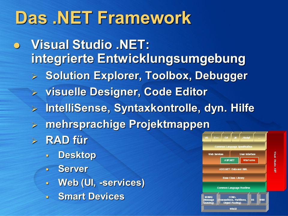 Das.NET Framework Visual Studio.NET: integrierte Entwicklungsumgebung Visual Studio.NET: integrierte Entwicklungsumgebung Solution Explorer, Toolbox,