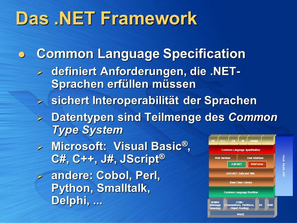 Das.NET Framework Common Language Runtime Common Language Runtime verwaltet ausgeführten Code verwaltet ausgeführten Code Typprüfungen, Fehlerbehandlung, Garbage Collection, … virtuelle Maschine Typprüfungen, Fehlerbehandlung, Garbage Collection, … virtuelle Maschine selbstbeschreibende Komponenten selbstbeschreibende Komponenten Assemblies enthalten Metadaten + Code Assemblies enthalten Metadaten + Code Just-In-Time-Compiler Just-In-Time-Compiler MSIL Maschinencode MSIL Maschinencode Komp.
