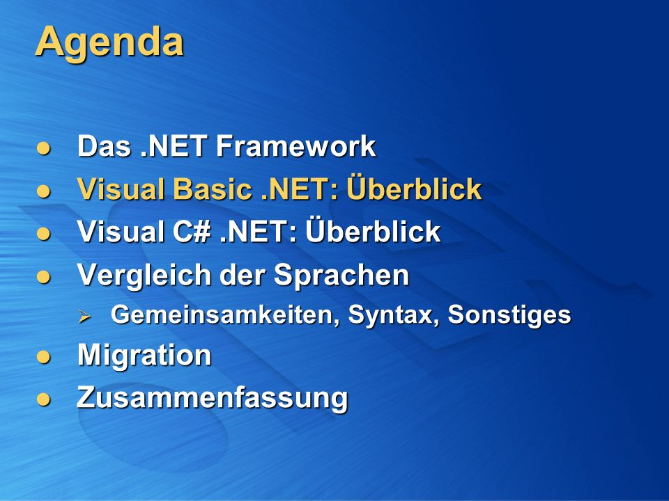 Visual Basic.NET Basic für das neue Jahrtausend… Basic für das neue Jahrtausend… bietet Features, die Entwickler bisher an Basic vermissten bietet Features, die Entwickler bisher an Basic vermissten mehr als nur Visual Basic 6 + 1 mehr als nur Visual Basic 6 + 1 …mit der Power von.NET …mit der Power von.NET einfaches Web Development einfaches Web Development voller Zugriff auf die.NET-Plattform voller Zugriff auf die.NET-Plattform Daten, XML, WinCE-Entwicklung,...