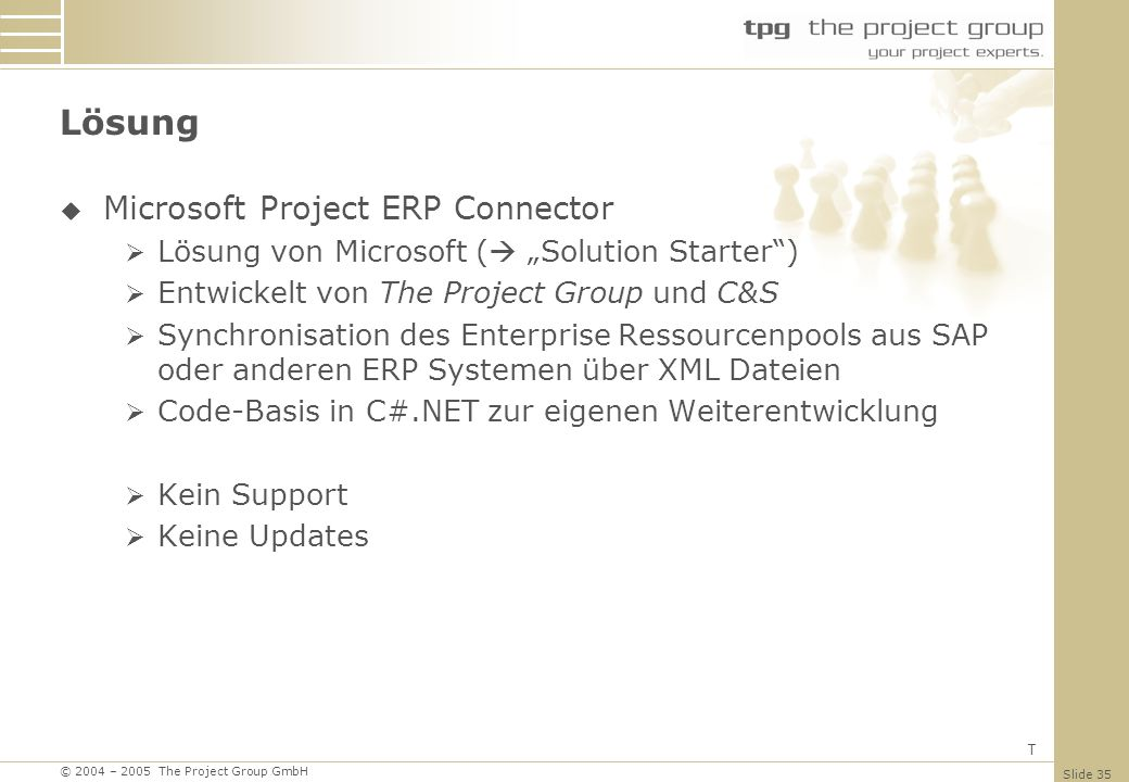 © 2004 – 2005 The Project Group GmbH Slide 35 Lösung Microsoft Project ERP Connector Lösung von Microsoft ( Solution Starter) Entwickelt von The Proje