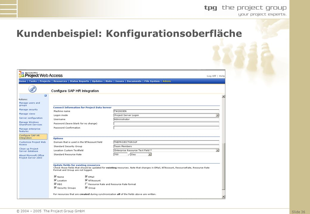 © 2004 – 2005 The Project Group GmbH Slide 36 Kundenbeispiel: Konfigurationsoberfläche