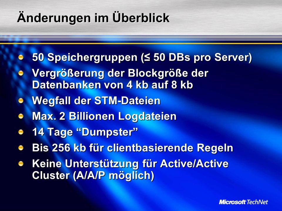 Reduzierte Komplexität Exchange 2003 (VBScript) E12 (Monad Script) Dim objMailbox As CDOEXM.IMailboxStore Set objMailbox = GetObject( LDAP:// + DCServer + CN=FOO,CN=users, + DomainName) objMailbox.CreateMailbox LDAP:// + DCServer + /CN=Private MDB,CN=First Storage Group,CN=InformationStore,CN= + Server + ,CN=Servers,CN=First Administrative Group, CN=Administrative Groups,CN=First Organization, CN=Microsoft Exchange,CN=Services, CN=Configuration, + DomainName enable-mailbox -identity domain\FOO -identity domain\FOO –database First Storage Group\Private MDB –database First Storage Group\Private MDB Dim StorGroup as New CDOEXM.StorageGroup StorGroup.DataSource.Open LDAP:// + DCServer + / CN=First Storage Group,CN=InformationStore,CN= + Server + ,CN=Servers,CN=First Administrative Group, CN=Administrative Groups,CN=First Organization, CN=Microsoft Exchange,CN=Services, CN=Configuration, + DomainName StorGroup.MoveLogFiles( C:\newlogPath , 0) move-storagegrouppath -identity First Storage Group -log C:\newlogPath -identity First Storage Group -log C:\newlogPath Set listExchange_Mailboxs = GetObject( winmgmts:{impersonationLevel=impersonate}!\\COMPUTERNAME\ROOT\MicrosoftExchangeV2 ).Instances Of( Exchange_Mailbox ) For Each objExchange_Mailbox in listExchange_Mailboxs WScript.echo AssocContentCount = + objExchange_Mailbox.AssocContentCount WScript.echo DateDiscoveredAbsentInDS = + objExchange_Mailbox.DateDiscoveredAbsentInDS WScript.echo DeletedMessageSizeExtended = + objExchange_Mailbox.