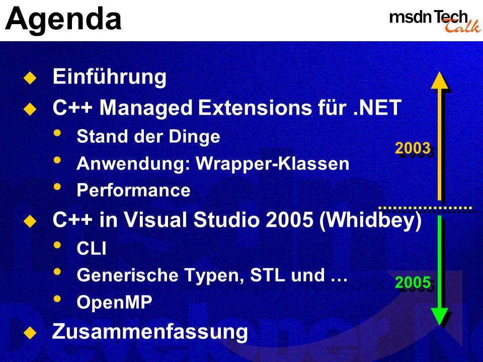Agenda Einführung C++ Managed Extensions für.NET Stand der Dinge Anwendung: Wrapper-Klassen Performance C++ in Visual Studio 2005 (Whidbey) CLI Generi