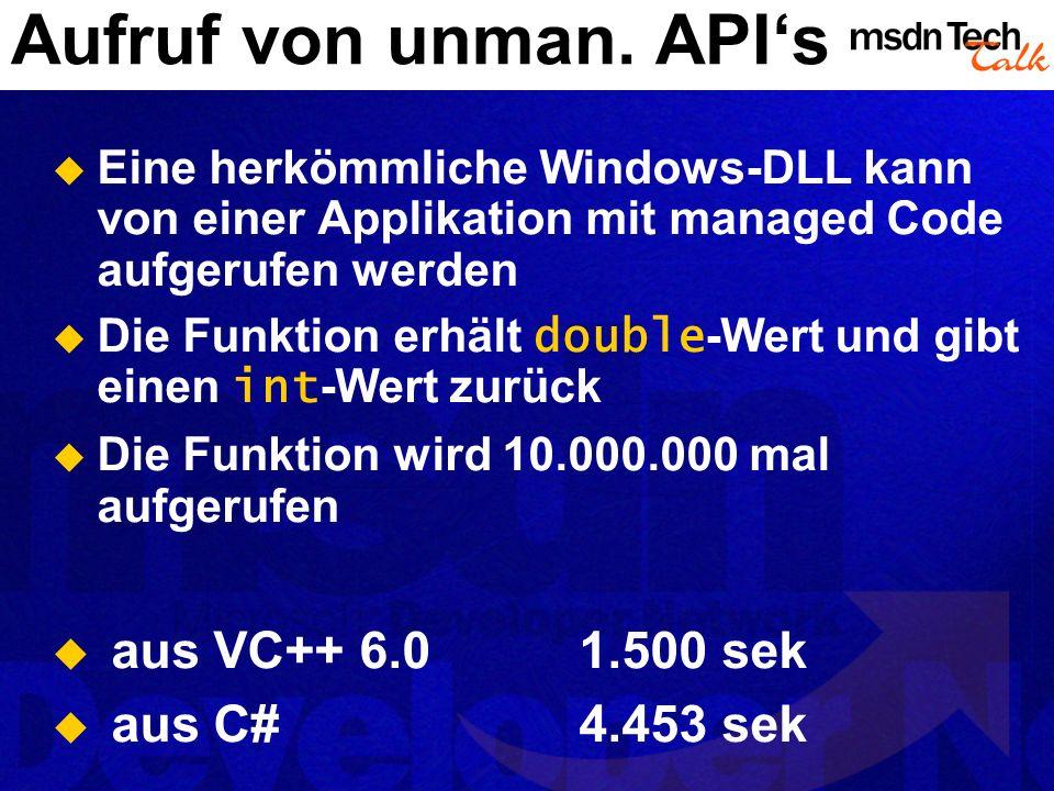 Aufruf von unman. APIs Eine herkömmliche Windows-DLL kann von einer Applikation mit managed Code aufgerufen werden Die Funktion erhält double -Wert un