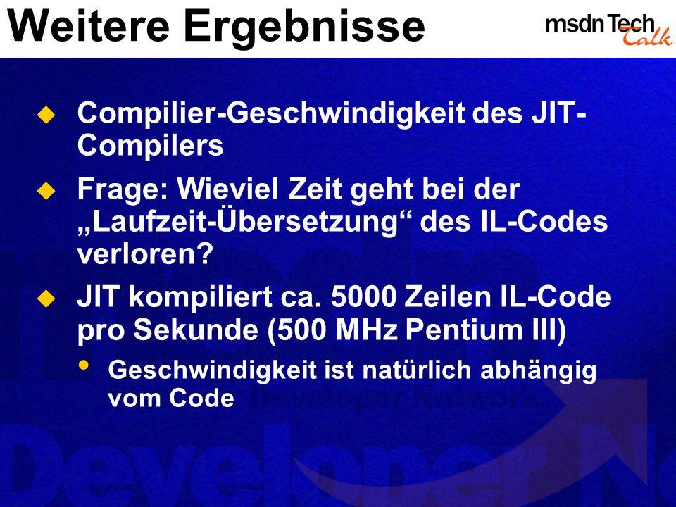 Weitere Ergebnisse Compilier-Geschwindigkeit des JIT- Compilers Frage: Wieviel Zeit geht bei der Laufzeit-Übersetzung des IL-Codes verloren? JIT kompi