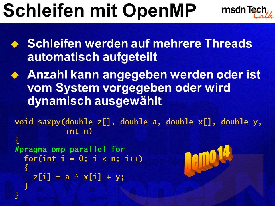 Schleifen mit OpenMP Schleifen werden auf mehrere Threads automatisch aufgeteilt Anzahl kann angegeben werden oder ist vom System vorgegeben oder wird