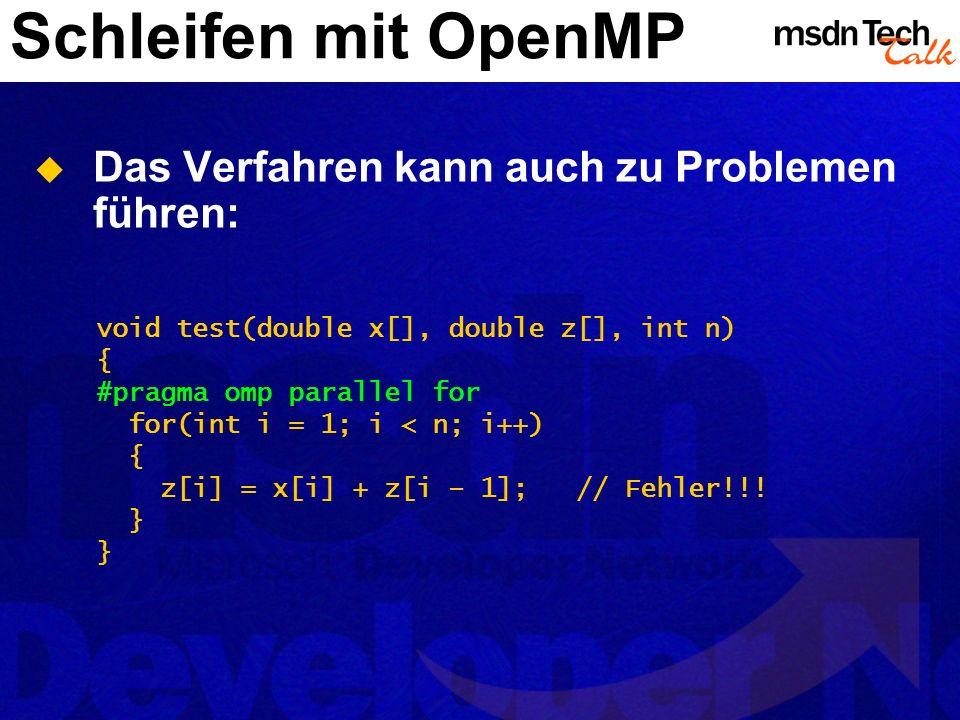 Schleifen mit OpenMP Das Verfahren kann auch zu Problemen führen: void test(double x[], double z[], int n) { #pragma omp parallel for for(int i = 1; i