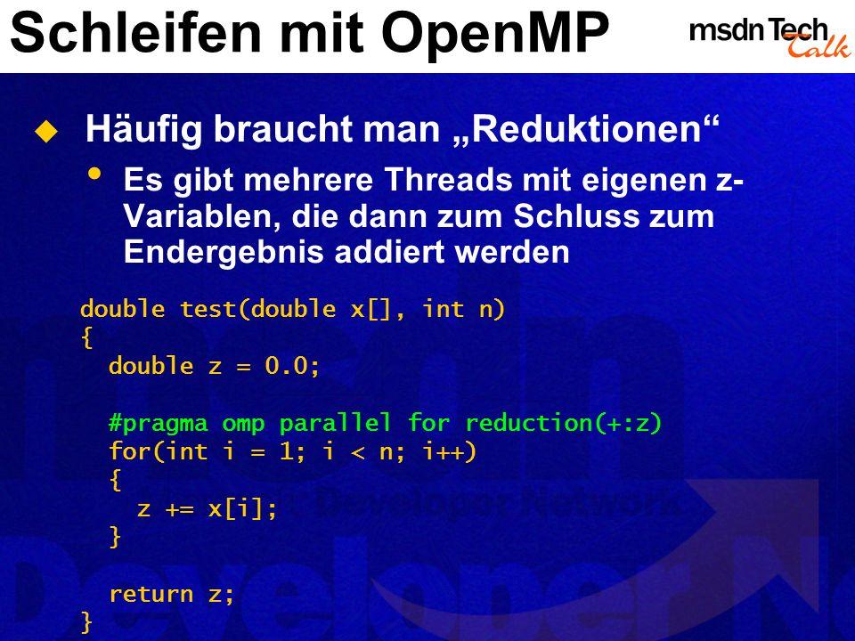 Schleifen mit OpenMP Häufig braucht man Reduktionen Es gibt mehrere Threads mit eigenen z- Variablen, die dann zum Schluss zum Endergebnis addiert wer