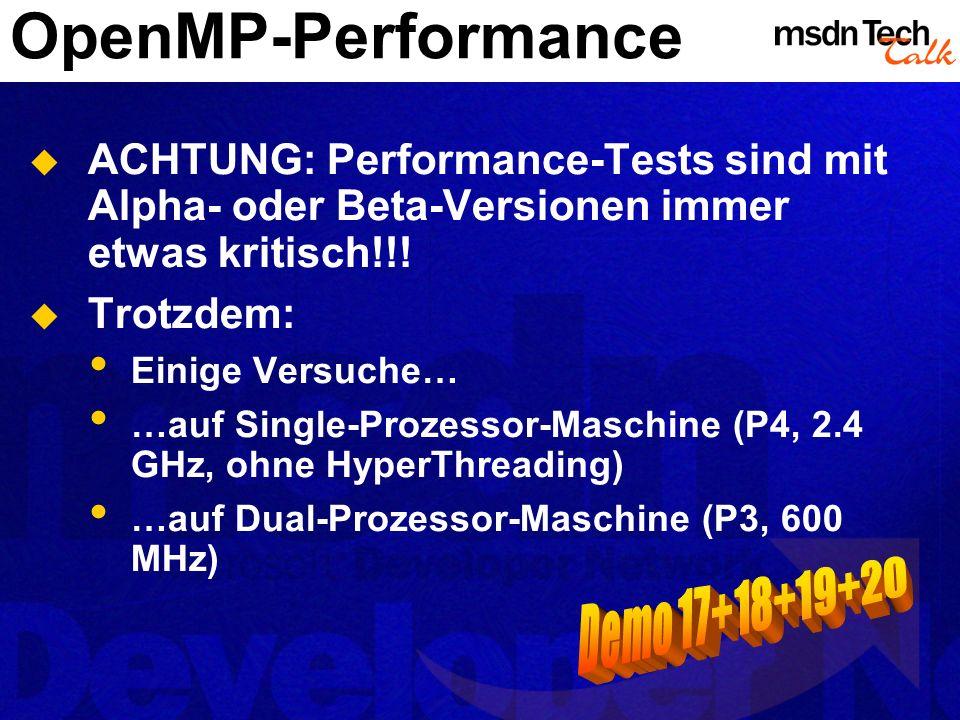 OpenMP-Performance ACHTUNG: Performance-Tests sind mit Alpha- oder Beta-Versionen immer etwas kritisch!!! Trotzdem: Einige Versuche… …auf Single-Proze