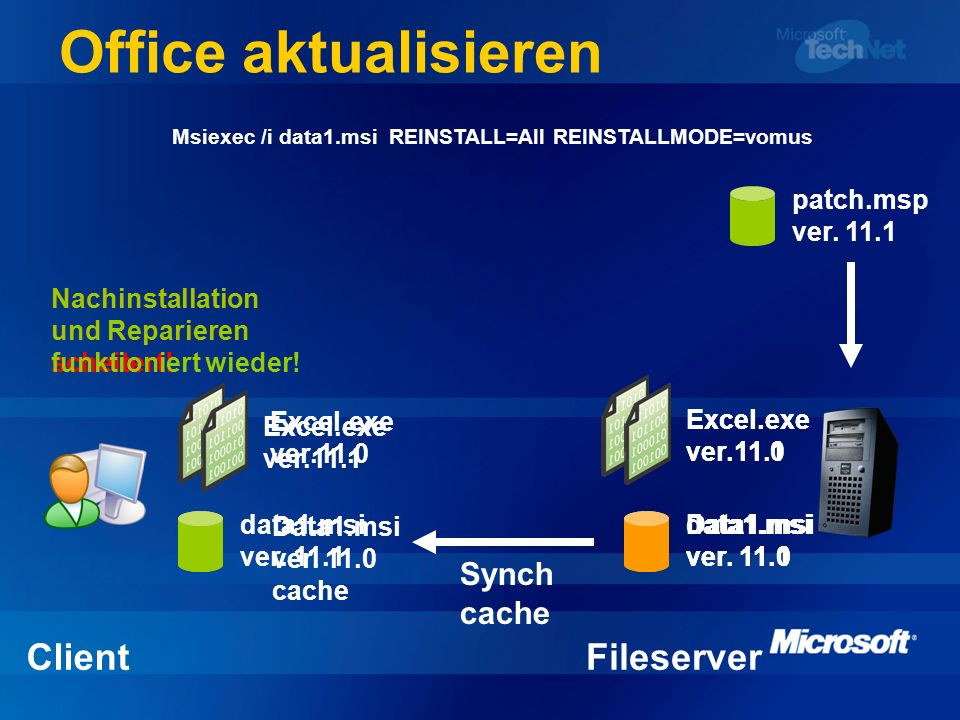 Office aktualisieren Data1.msi ver. 11.0 cache Excel.exe ver.11.0 ClientFileserver data1.msi ver. 11.1 Data1.msi ver. 11.0 Excel.exe ver.11.1 patch.ms