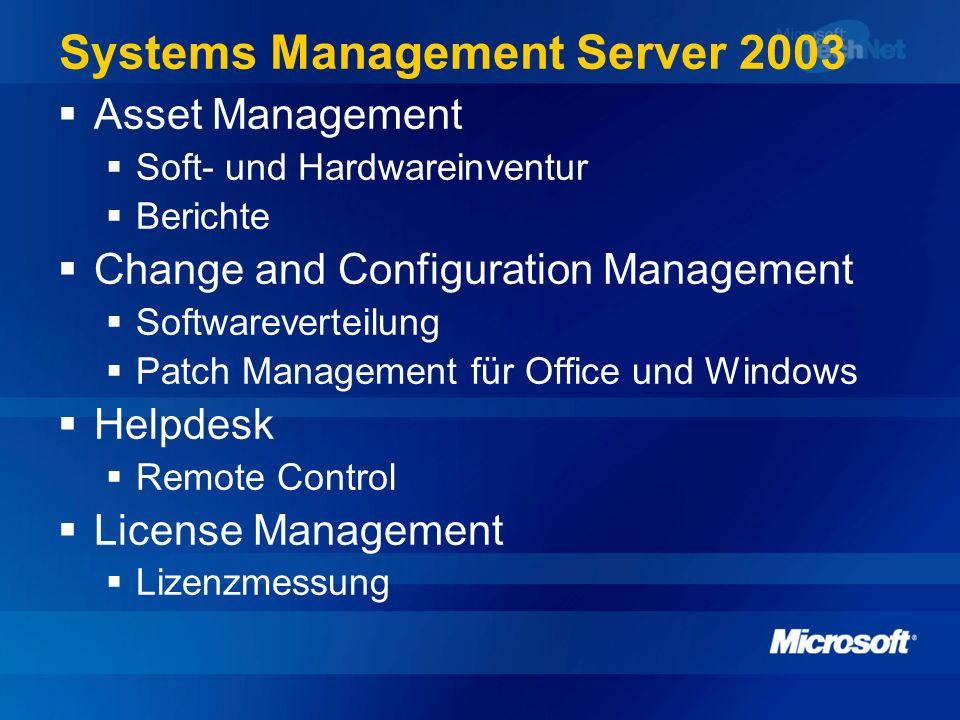 Systems Management Server 2003 Asset Management Soft- und Hardwareinventur Berichte Change and Configuration Management Softwareverteilung Patch Manag