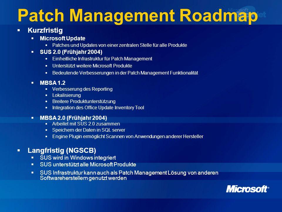 Patch Management Roadmap Kurzfristig Microsoft Update Patches und Updates von einer zentralen Stelle für alle Produkte SUS 2.0 (Frühjahr 2004) Einheit