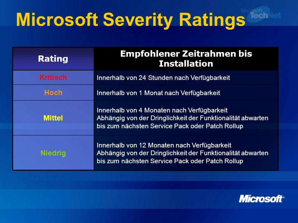 Microsoft Severity Ratings Rating Empfohlener Zeitrahmen bis Installation Kritisch Innerhalb von 24 Stunden nach Verfügbarkeit Hoch Innerhalb von 1 Mo