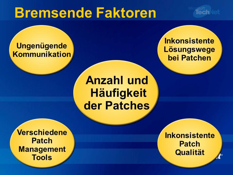 Bremsende Faktoren Anzahl und Häufigkeit der Patches Ungenügende Kommunikation Inkonsistente Lösungswege bei Patchen Verschiedene Patch Management Too
