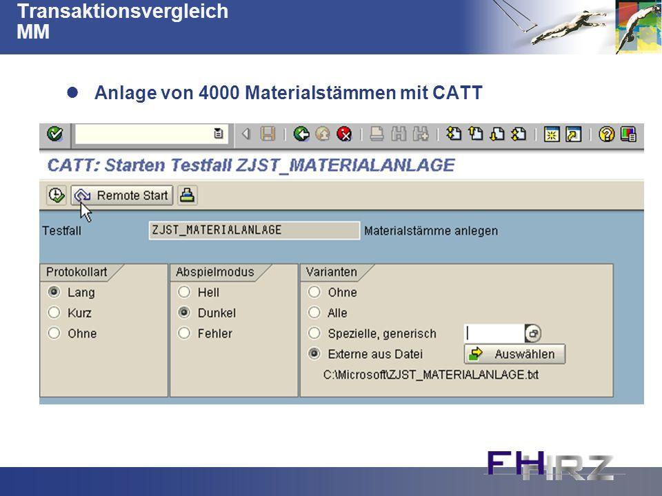 Transaktionsvergleich MM Anlage von 4000 Materialstämmen mit CATT