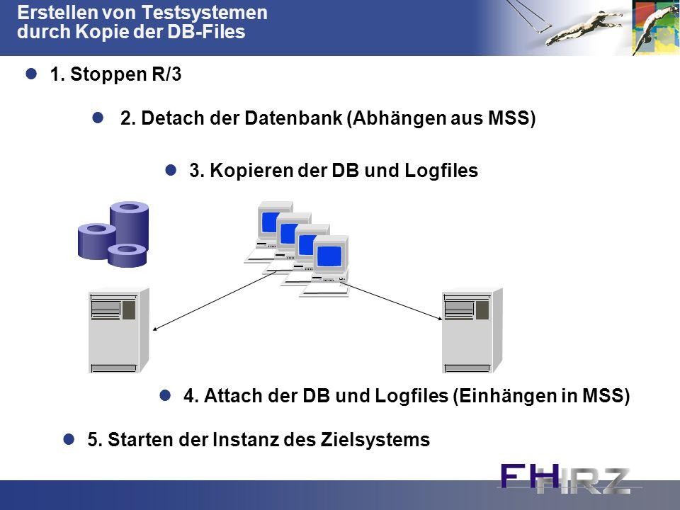 Erstellen von Testsystemen durch Kopie der DB-Files 2. Detach der Datenbank (Abhängen aus MSS) 3. Kopieren der DB und Logfiles 4. Attach der DB und Lo