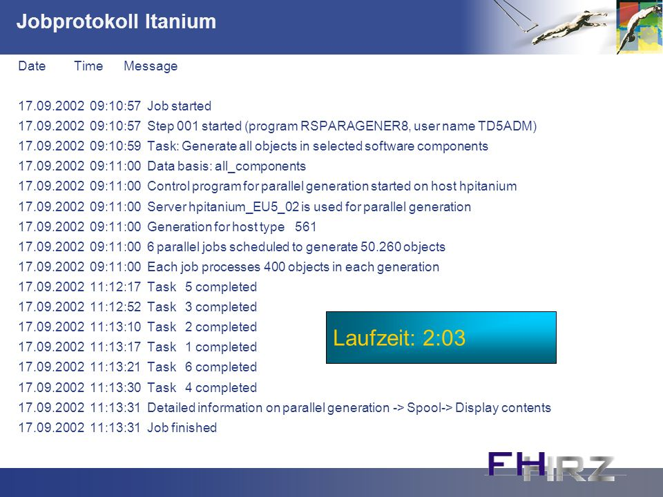 Jobprotokoll Itanium Date Time Message 17.09.2002 09:10:57 Job started 17.09.2002 09:10:57 Step 001 started (program RSPARAGENER8, user name TD5ADM) 1