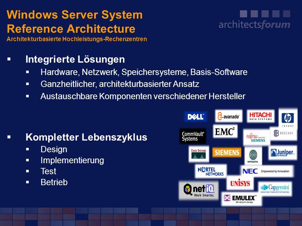 Windows Server System Reference Architecture Architekturbasierte Hochleistungs-Rechenzentren Integrierte Lösungen Hardware, Netzwerk, Speichersysteme,