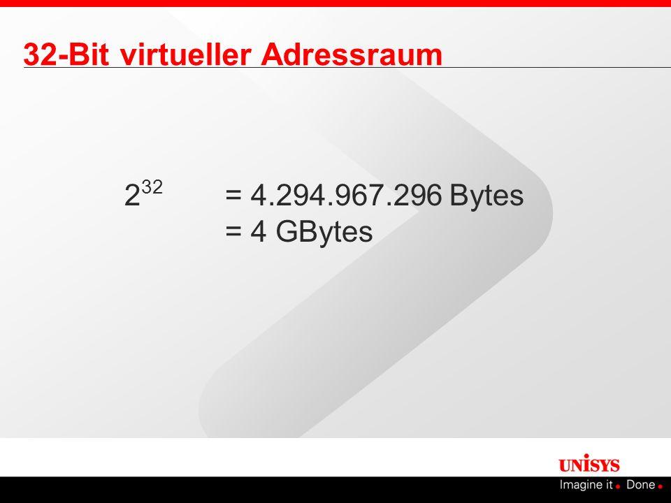 2 32 = 4.294.967.296 Bytes = 4 GBytes 32-Bit virtueller Adressraum