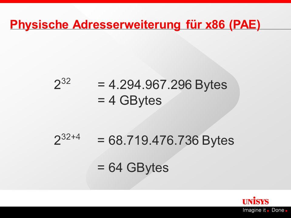 2 32 = 4.294.967.296 Bytes = 4 GBytes Physische Adresserweiterung für x86 (PAE) 2 32+4 = 68.719.476.736 Bytes = 64 GBytes