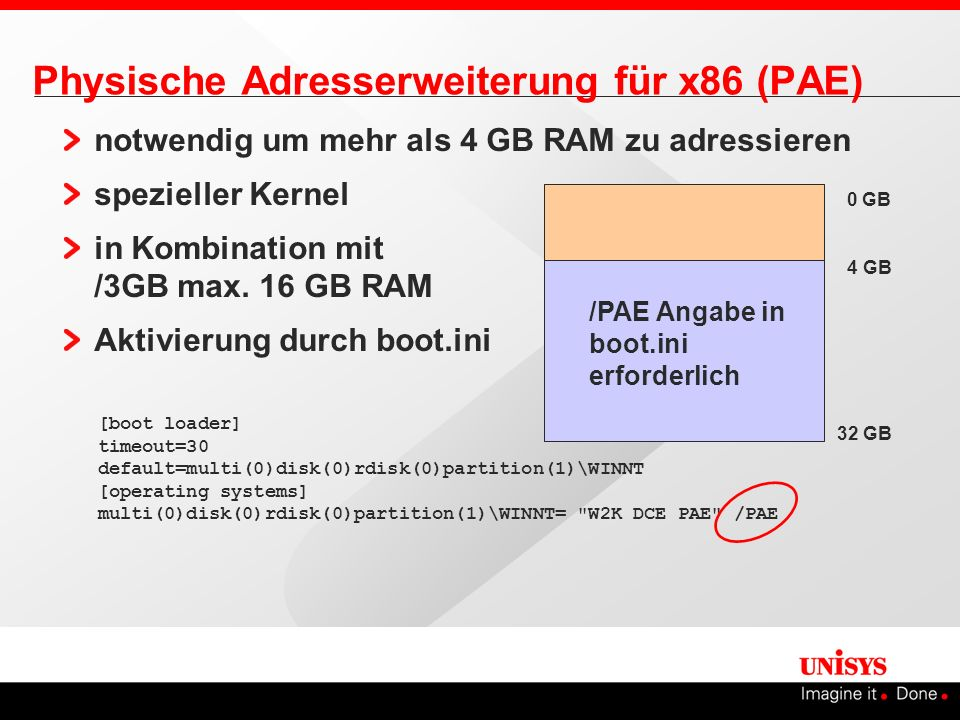 Physische Adresserweiterung für x86 (PAE) notwendig um mehr als 4 GB RAM zu adressieren spezieller Kernel in Kombination mit /3GB max. 16 GB RAM Aktiv