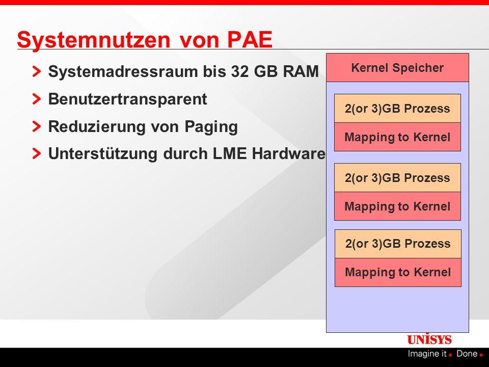 Systemnutzen von PAE Systemadressraum bis 32 GB RAM Benutzertransparent Reduzierung von Paging Unterstützung durch LME Hardware Kernel Speicher Mappin