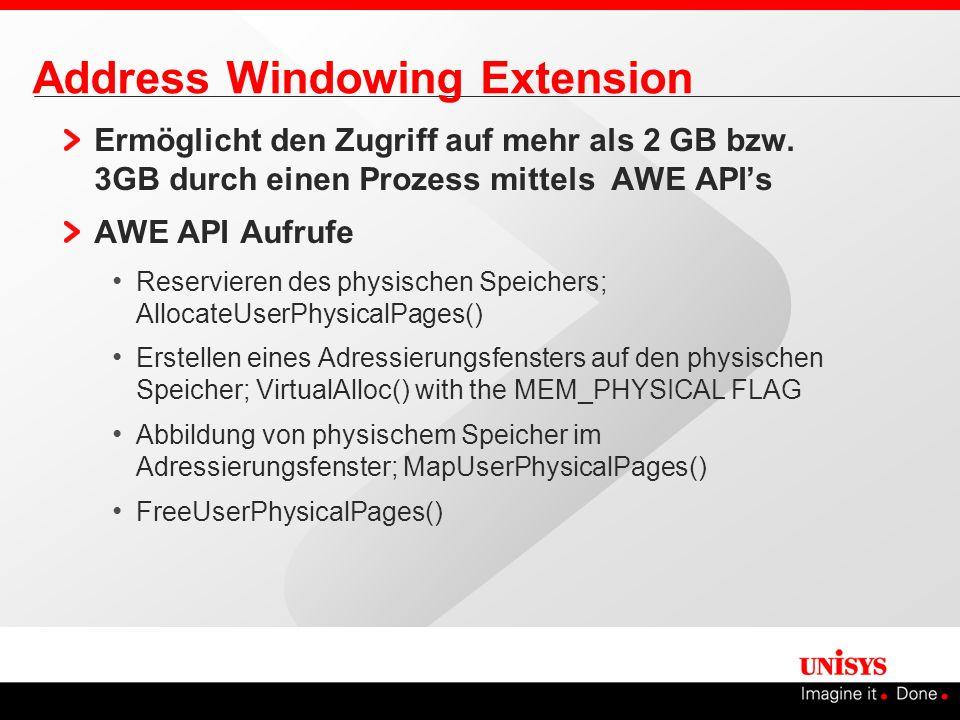 Address Windowing Extension Ermöglicht den Zugriff auf mehr als 2 GB bzw. 3GB durch einen Prozess mittels AWE APIs AWE API Aufrufe Reservieren des phy