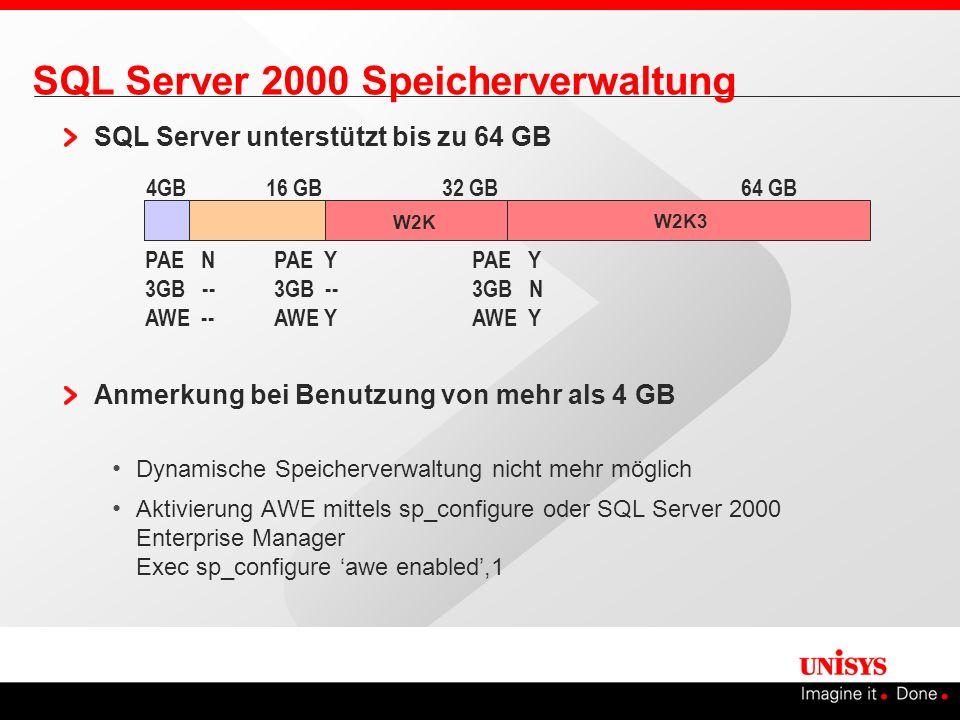 SQL Server 2000 Speicherverwaltung SQL Server unterstützt bis zu 64 GB Anmerkung bei Benutzung von mehr als 4 GB Dynamische Speicherverwaltung nicht m