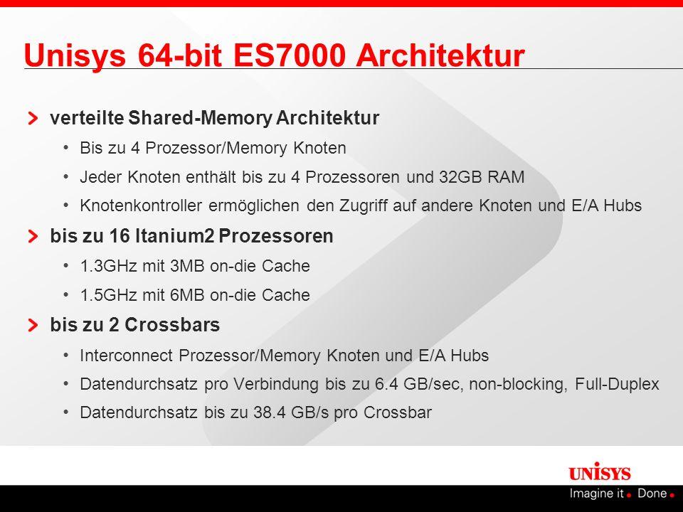Unisys 64-bit ES7000 Architektur verteilte Shared-Memory Architektur Bis zu 4 Prozessor/Memory Knoten Jeder Knoten enthält bis zu 4 Prozessoren und 32